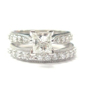 Fine Princess Cut Diamond Engagement Solitaire with Accent Wedding Set WG 1.58CT