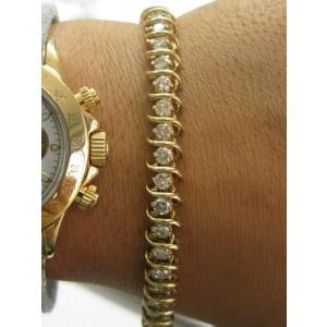 "Natural Round Brilliant Diamond Tennis Bracelet 14Kt Yellow Gold 5.00Ct 7.5"""