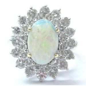 Opal & Diamond Ring Solid 14Kt White Gold 2.85Ct H-I/SI1 EYE CLEAN FULL OF SHINE