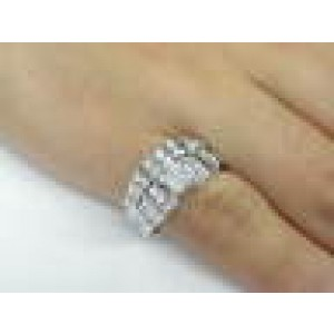 Fine Round & Baguette Shape Diamond Engagement Ring White Gold 1.52CT