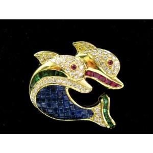 Double Dolphin Natural Diamond & Multi Gem Stone Pin Brooch 18Kt 4.23Ct F-VVS2