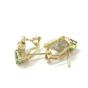 Green Emerald & Diamond Huggie Earrings 18Kt Solid Yellow Gold 1.04Ct FVVS2 16MM