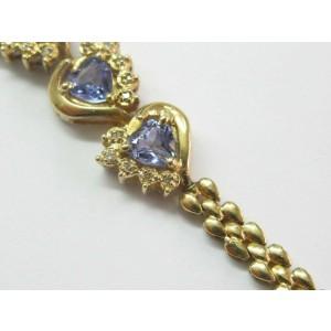 "Natural Heart Shape Tanzanite Diamond Yellow Gold 14Kt Bracelet 7"" 3.15Ct"