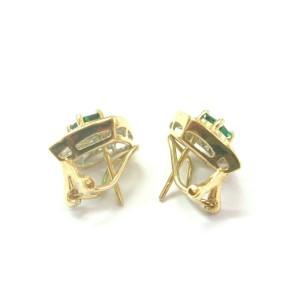 Green Emerald & Diamond Huggie Earrings 18Kt Solid Yellow Gold 1.80Ct FVVS2 15MM