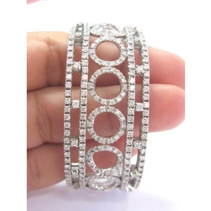 "WIDE Circular Diamond Cuff Solid White Gold 18Kt 3.52Ct G-VS1/VS2 2.25"" Diameter"