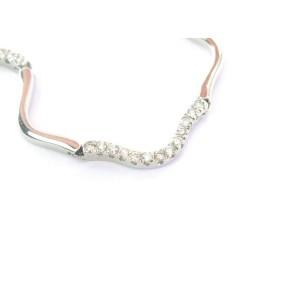 "Natural Round Diamond Riviera Wavy White Gold Necklace 1.25Ct 18Kt 16"""