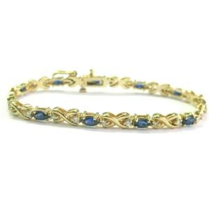 "Natural Ceylon Sapphire Diamond Yellow Gold Tennis Bracelet 14Kt  7"" 4.58CT"