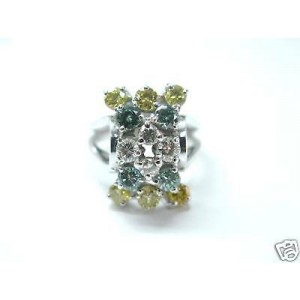 Fine Green Yellow & White Diamond Cocktail White Gold Jewelry Ring 1.69Ct