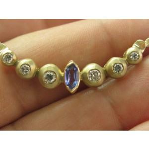 """Tanzanite & Diamond Bezel Set Necklace 14Kt Yellow Gold .42Ct + .62Ct 17.5"""""""