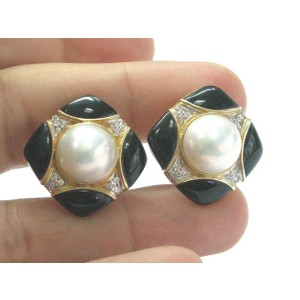 Fine Mabe Pearls Onyx Diamodn Yellow Gold Earrings 10MM .24CT