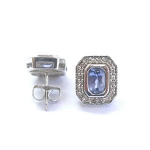 Tanzanite & Diamond Halo Stud Earrings 14KT White Gold 1.38Ct
