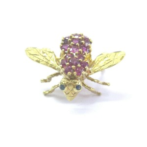 """18Kt Gem Ruby Sapphire Yellow Gold Bee Pin/Brooch 4.10Ct 1"""""""