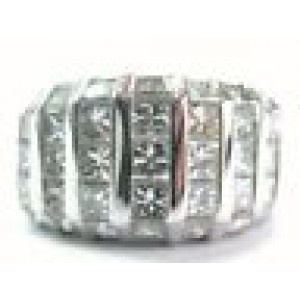 Princess Cut NATURAL Diamond Cluster SOLID White Gold Jewelry Ring 7-Row 4.26Ct