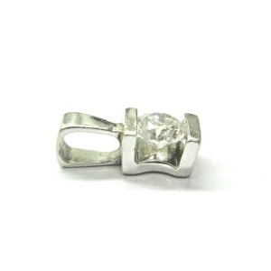 Round Diamond Solitaire Pendant 14Kt White Gold F-SI1 SUPER BEAUTIFUL