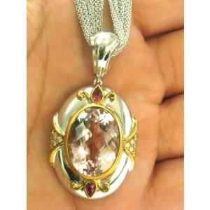 "Morganite Pink Sapphire & Diamond Pendant Necklace 18Kt White Gold 22.88Ct 16"""