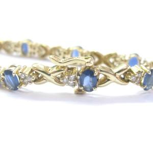 "Fine Gem Blue Sapphire & Diamond Yellow Gold Tennis Bracelet 14KT 5.50Ct 6.25"""