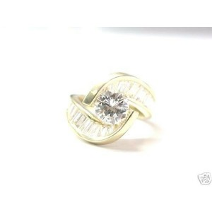 ByPass Engagement NATURAL Diamond SOLID Yellow Gold Ring 3.38Ct