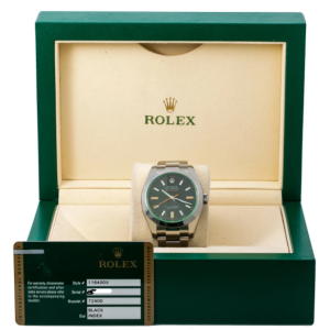 ROLEX MILGAUSS WATCH BLACK DIAL STAINLESS - 116400GV - BOX AND CARD