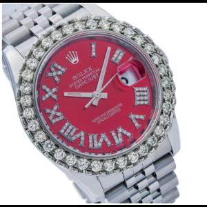 ROLEX DATEJUST 116200 36MM RED DIAMOND DIAL DIAMOND BEZEL STEEL JUBILEE BRACELET
