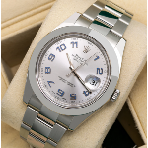 ROLEX DATEJUST II 116300 41MM GREY DIAL BLUE NUMBERS STEEL OYSTER BAND BOX/CARD