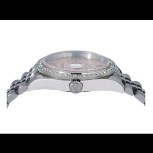ROLEX DATEJUST WATCH 116200 36MM PINK FLOWER DIAL DIAMOND BEZEL JUBILEE BRACELET