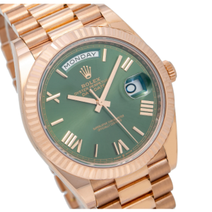 ROLEX DAY DATE 40 WATCH ROSE GOLD GREEN DIAL 228235 BOX AND CARD