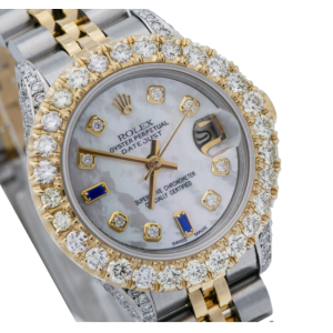 ROLEX LADY-DATEJUST 69173 26MM WHITE MOTHER OF PEARL DIAL TWO TONE JUBILEE BAND