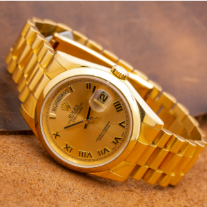 ROLEX DAY-DATE 36MM YELLOW GOLD WATCH 118208 CHAMPAGNE DIAL DOMED BEZEL