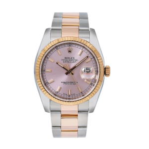 ROLEX DATEJUST 36MM WATCH STEEL AND ROSE GOLD 116231 OYSTER BRACELET PINK DIAL