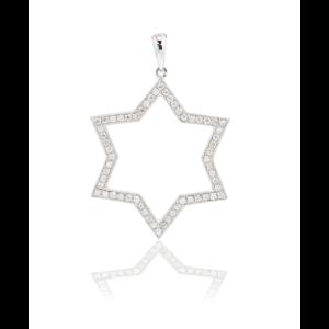 UNISEX DIAMOND STAR OF DAVID PENDANT 18K WHITE GOLD 0.23CT DIAMOND
