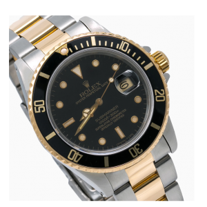 ROLEX SUBMARINER DATE WATCH 16803 40MM STEEL AND YELLOW GOLD BLACK