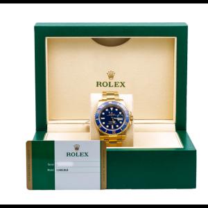 ROLEX SUBMARINER DATE WATCH 116618LB YELLOW GOLD BLUE CERAMIC 40MM