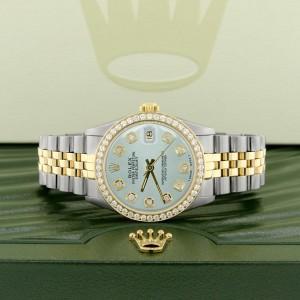 Rolex Datejust 2-Tone 18K Gold/SS Midsize 31mm Womens Watch with Baby Blue Dial & Diamond Bezel