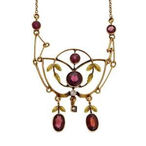 Vintage Victorian 14k Rose Gold Garnet Pendant Necklace