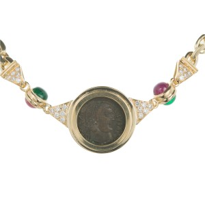 18K Yellow Gold with 2ct. Emeralds, 2.20ct. Ruby & 0.48ct. Diamonds Necklace