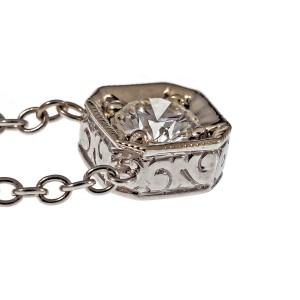 18K White Gold Octagonal Diamond Pendant Necklace