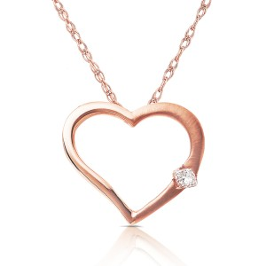 Diamond Heart Pendant in 14K White Rose or Yellow Gold - rose-gold