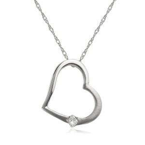 Diamond Heart Pendant in 14K White Rose or Yellow Gold - white-gold