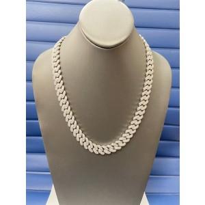 14K White Gold Men's 20.37ct Diamond Link Necklace