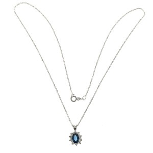 18K White Gold with 1.00ct Cornflower Blue Sapphire & Diamond Pendant Necklace