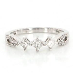 14K White Gold Diamond Stack Band Ring