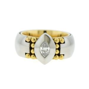 Georg Jensen Platinum and 18K Yellow Gold 0.20 Ct Diamond Ring Size 5.5