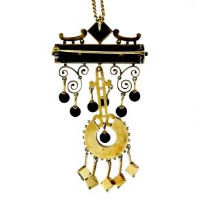 Victorian Architectural Revival Pendant Earrings 14k Rose Gold Onyx Set