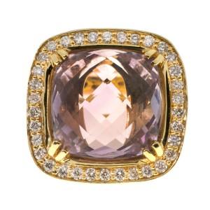 Vintage 7.00ct Cushion Smokey Quartz 14k Pink Gold Diamond Ring