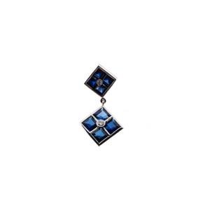 Retro Art Deco 14k White Gold Synthetic Sapphire Diamond Dangle Earrings