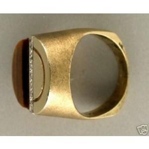 Estate Men's 14k Brushed Yellow Gold 1960'S Designer Tiger's Eye & Diamond Ri