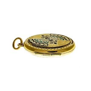 Victorian Rose Pink Gold Blue Black Enamel Pendant Locket