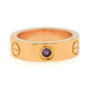 Cartier Love 18K Rose Gold Sapphire Ring Size 4.5