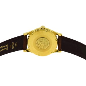 Omega Constellation 14381/2 18K Yellow Gold & Leather Automatic 34mm Mens Watch