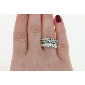 David Yurman 925 Sterling Silver with 1.25ct Diamond Cable Band Ring Size 7